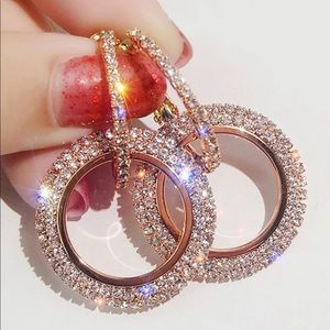 Crystal Earrings Round Gold And Silver Earring